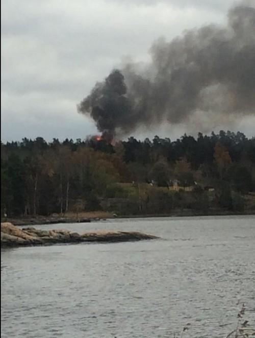 Foto över branden tagit av för mig okänd fotograf