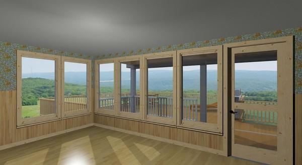 3D-ritning av vardagsrummet i Gamla huset