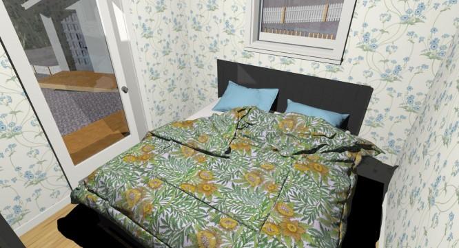 3D version av hur stora sovrummet kan komma att se ut. Lite roligt på bilden är att maken lagt in gamla husets Morristapeter som påslakan.