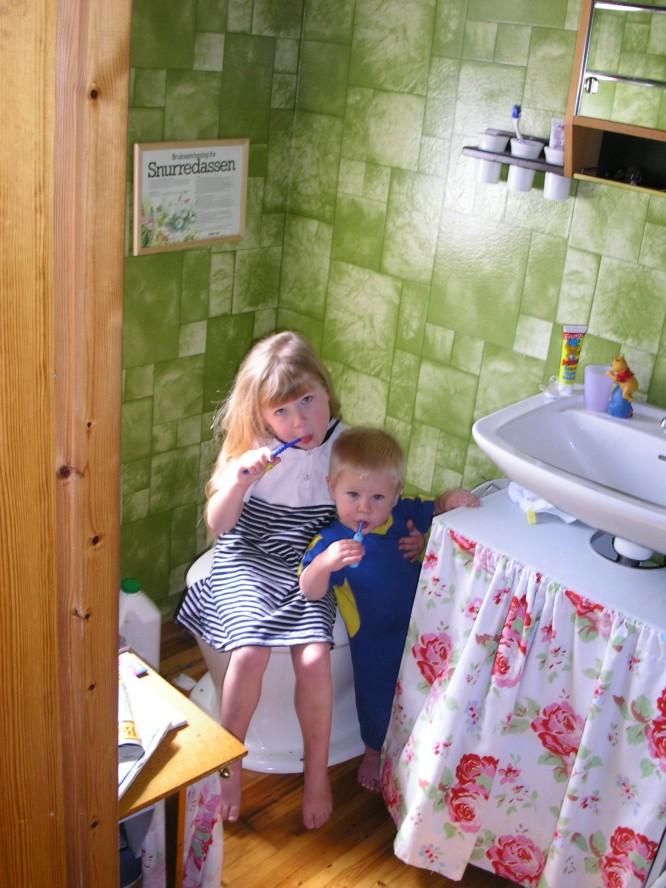 Toaletten i gamla huset med sitt furugolv.