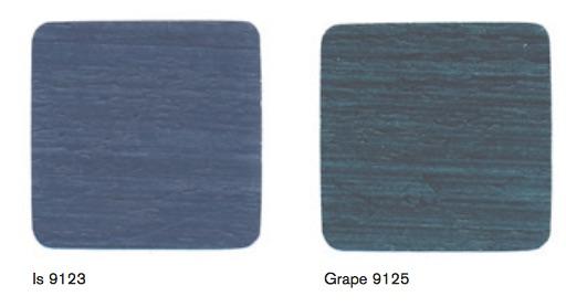 Beckers fasadlasyr i de två blå kulörer som finns, IS och Grape och Grape är mest lik den färg vi redan nu har på våra ekonomibyggnader.