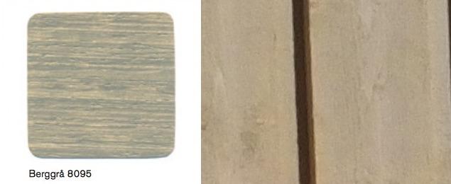 Färgen vi skall måla huset i är Beckers Utomhuslasyr (Bergrå 8095), men huset målades i fabrik av misstag med Lasol Utomhusgrund i grå kulör. Snubblande nära kulörmässigt!