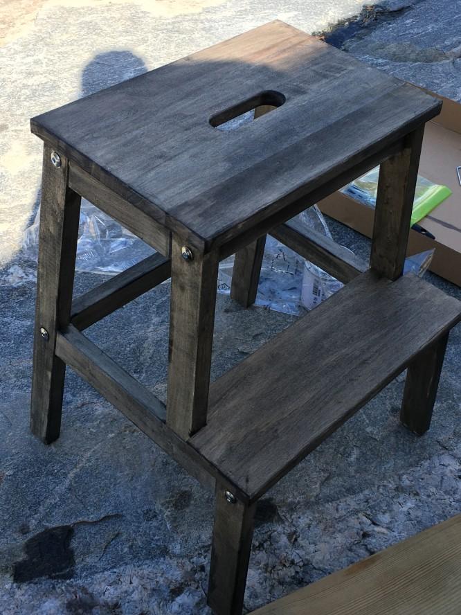 Skall målas ett par lager till så den grå från smutsgrå till djupt träsvart...men visst blir det bra!