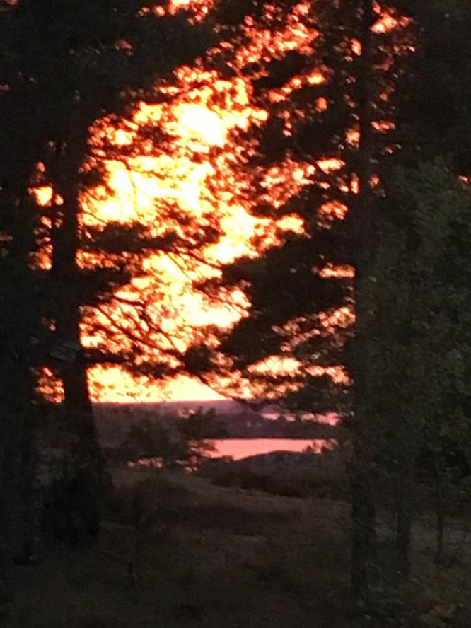 Solnedgång sett från huset