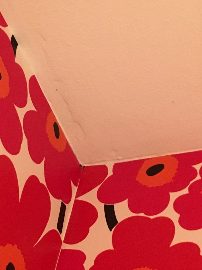 """""""Spacklat"""" och målat tak."""