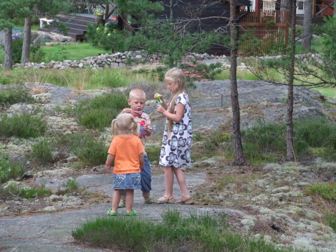 Såpbubblerblåsning på tomten, juli 2008
