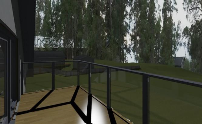 3D-simulering av takterrass med grannhusen inlagda på nybyggnadskartan samt att ett foto av verkligheten lagts in som bakgrund.