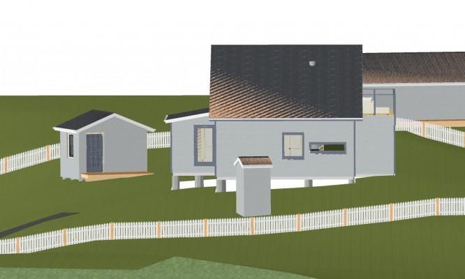 Huset sett från vår grannes tak i 3D-simulering