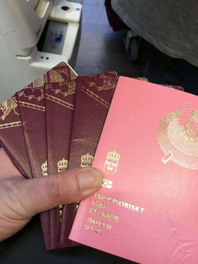 Fyra normala pass och ett rosa tillfälligt pass.