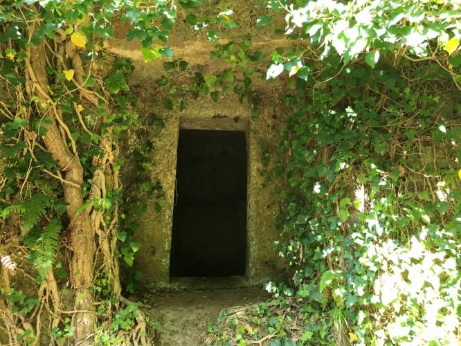 Ingången till en etruskisk gravkammare, utgrävd ur berget, Barbarossa 16/4-2017