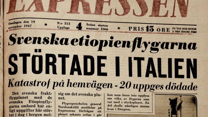 Förstasidesnyhet 1947. Källa SVT