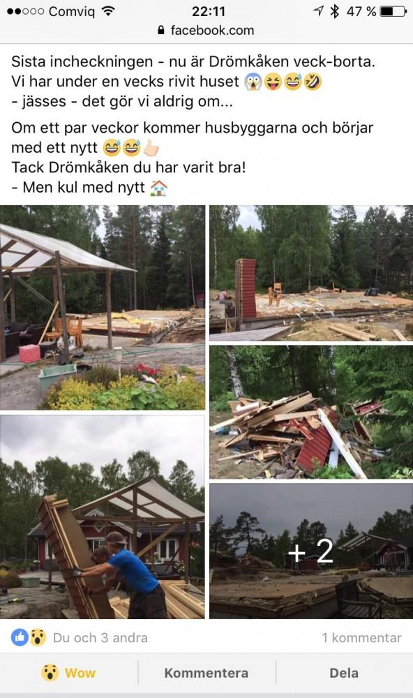 """Saxat från Facebook, där några """"grannar"""" visar hur de under semestern 2017 rivit sitt hus. I höst kommer de sedan bygga nytt."""