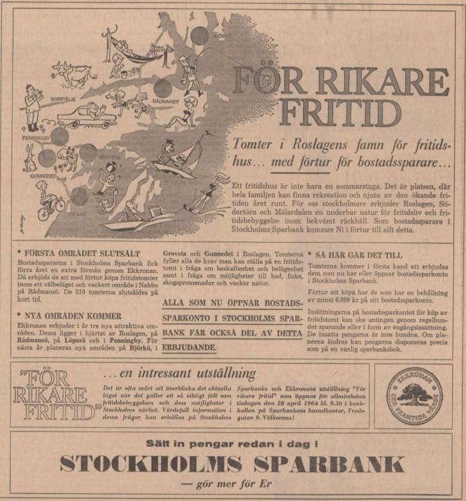 Sparbanksannons från 1964. Källa; SvD 3/6-1964