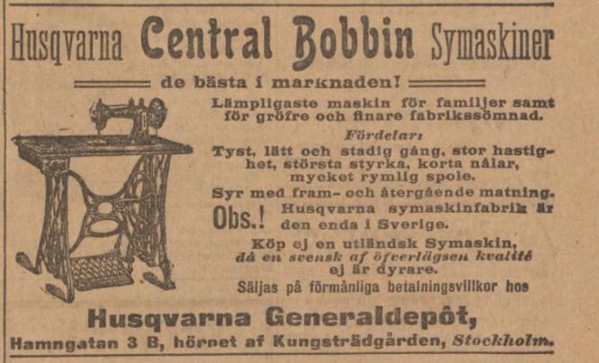 Husqvarna Central Bobbin (Husqvarna C.B.), reklamannons från SvD 16/12-1905