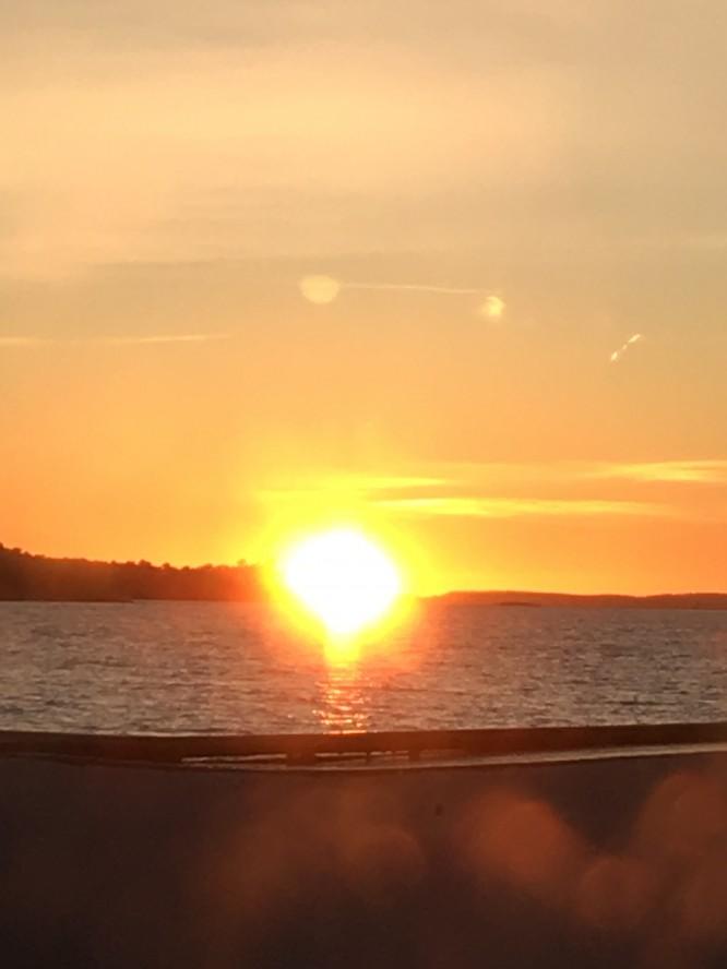 Solnedgång i januari 2018, ca kl 15:15.